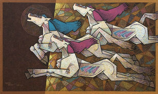 friends forever- by Dinkar Jadhav, Illustration Painting, Acrylic on Canvas, Gray color
