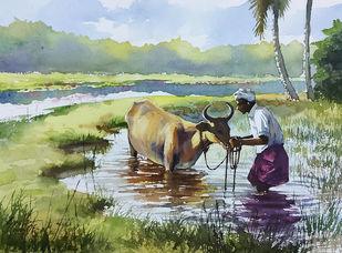 Village life by Sunil Linus De, Illustration Painting, Watercolor on Paper, Silver color