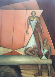 Karona Kaal by Niku Guleria, Cubism Painting, Oil on Canvas, Gray color