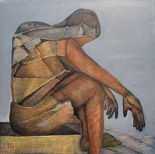 Soiled Hands by Niku Guleria, Cubism Painting, Mixed Media, Gray color