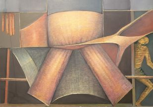 Combo Offer by Niku Guleria, Cubism Painting, Oil on Canvas, Gray color