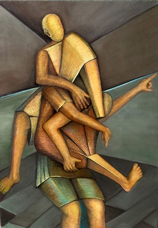 Camaraderie by Niku Guleria, Cubism Painting, Oil on Canvas, Gray color
