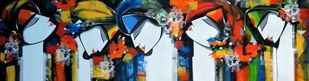 Vrindavan by pradeesh k raman, Expressionism Painting, Acrylic on Canvas, Gray color