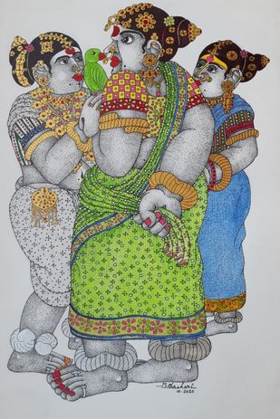 Rural women by Narahari Bhawandla, Traditional Painting, Acrylic on Paper, Silver color