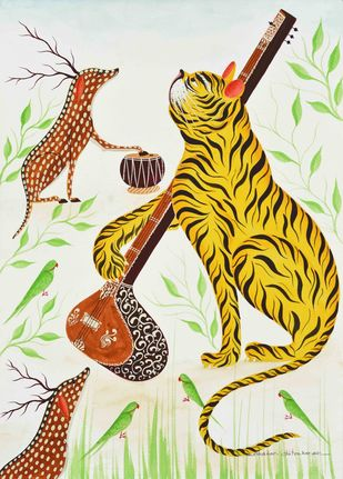 Forest Musicians by Bhaskar Chitrakar, Folk, Traditional Painting, Natural colours on paper, Lime color