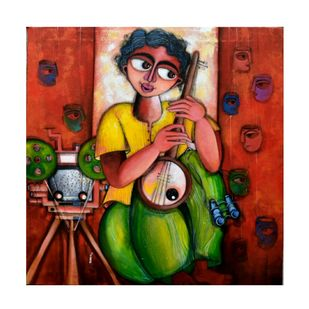 Chrome nostalgia by Sharmi Dey, Expressionism Painting, Acrylic on Canvas, White color