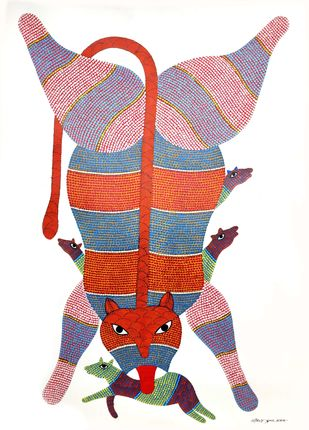 Gond Painting by Unknown Artist, Folk Painting, Acrylic on Paper, White color