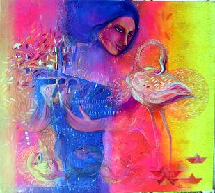 The Oceaina by Madan Lal, Illustration Painting, Acrylic on Canvas, Fuchsia color