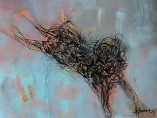 Untitled 1 by Apurva Singh, Abstract Painting, Mixed Media on Paper, Gray color