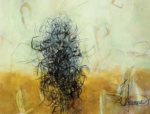 Untitled 2 by Apurva Singh, Abstract Painting, Mixed Media on Paper, Silver color