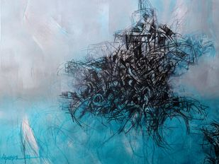Untitled 3 by Apurva Singh, Abstract Painting, Mixed Media on Paper, Teal color