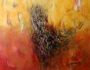 Untitled 4 by Apurva Singh, Abstract Painting, Mixed Media on Paper, Orange color