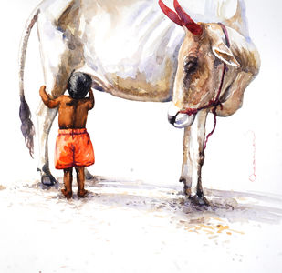 Cow with Boy by Siva Balan, Illustration Painting, Water Based Medium on Paper, White color