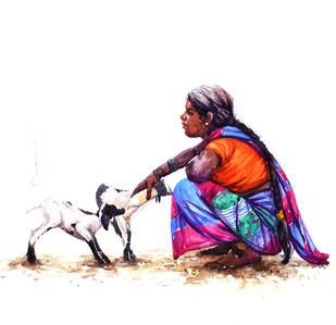 Feeling by Siva Balan, Illustration Painting, Watercolor on Paper, White color