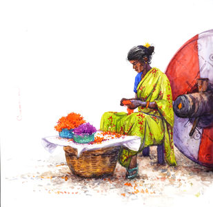 Flower Seller by Siva Balan, Illustration Painting, Watercolor on Paper, White color