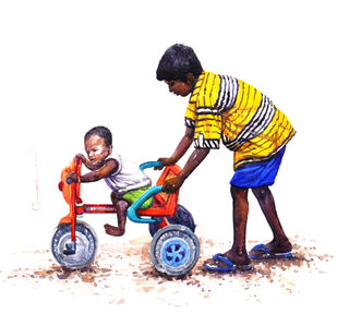 Happy by Siva Balan, Illustration Painting, Watercolor on Paper, White color