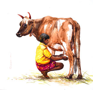 Milk man by Siva Balan, Illustration Painting, Watercolor on Paper, White color
