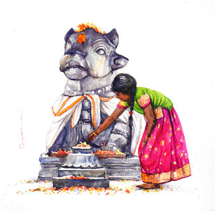Nandhi by Siva Balan, Illustration Painting, Watercolor on Paper, White color