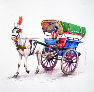 Ride by Siva Balan, Illustration Painting, Watercolor on Paper, White color