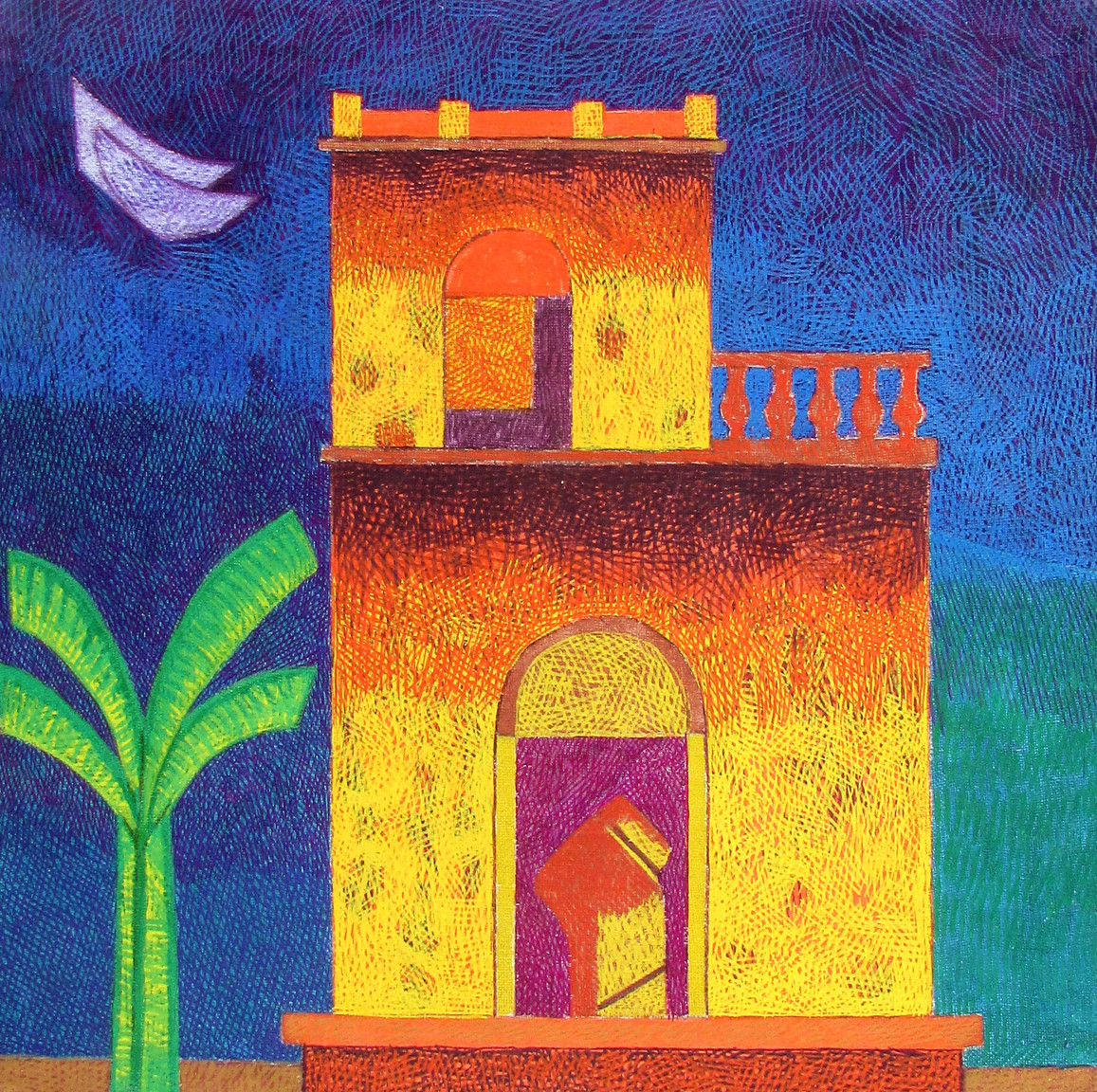 House series 2021A by Amit Biswas, Illustration Painting, Tempera on Canvas Board, Navy color