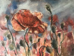Poppies in oil by Nahid Aamina Sowkath, Illustration Painting, Oil on Canvas Board, Purple color