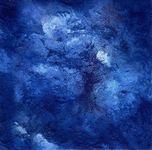 Untitled 4 by Vanshita arora , Abstract Painting, Mixed Media on Canvas, Navy color