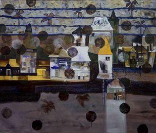 Mindscape-II by Harshada Kolapkar, Illustration Painting, Acrylic on Canvas, Gray color
