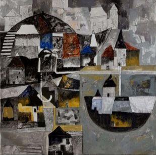 Mindscape-I by Harshada Kolapkar, Illustration Painting, Acrylic on Canvas, Gray color
