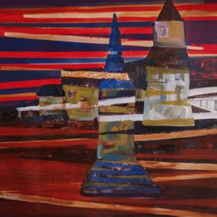 Mindscape-IV by Harshada Kolapkar, Illustration Painting, Acrylic on Canvas, Gray color
