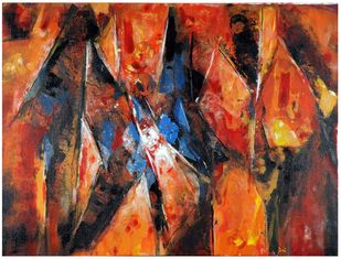 The Indian Village by Archana Jain, Abstract Painting, Acrylic on Canvas, Orange color
