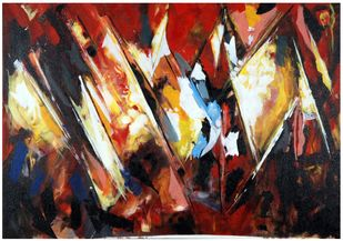 The Himalayan Sunrise by Archana Jain, Abstract Painting, Acrylic on Canvas, Black color