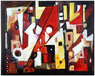 The City Life by Archana Jain, Abstract Painting, Acrylic on Canvas, Orange color