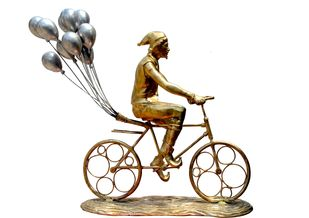Chassing happiness by Nimesh Pilla, Art Deco Sculpture | 3D, Brass, White color