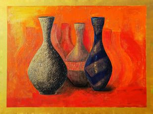 Stock love by Nusrat Jahan , Illustration Painting, Acrylic on Canvas, Orange color