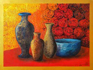 Eyeful by Nusrat Jahan , Illustration Painting, Acrylic on Canvas, Maroon color