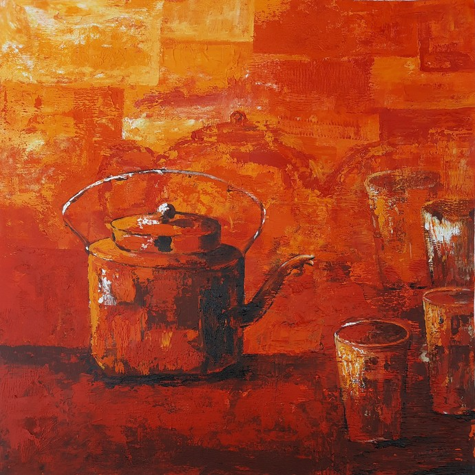 Chai by Nusrat Jahan , Illustration Painting, Acrylic on Canvas, Orange color
