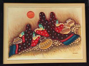 Kachchhi traditional mud painting by Durlabhji Makwana, Folk Painting, Terracotta, Orange color