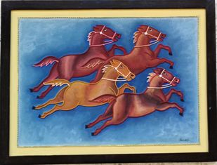 Running Horse Mud Painting by Durlabhji Makwana, Folk Painting, Terracotta, Gray color
