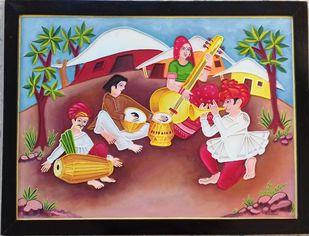 Sangeet Sandhya Mud Painting by Durlabhji Makwana, Folk Painting, Terracotta, Purple color