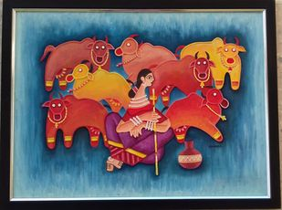 Kachchh traditional mud painting by Durlabhji Makwana, Folk Painting, Terracotta, Gray color