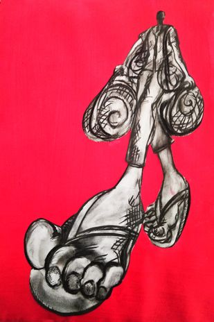 Home is where I prefer to die by Portia Roy, Illustration Painting, Charcoal on Paper, Red color