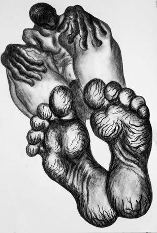 Foot tells a thousand stories by Portia Roy, Illustration Painting, Charcoal & Dry Pastel on Paper, Silver color
