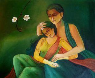 BONDING by Monalisa Sarkar Mitra, Illustration Painting, Acrylic on Canvas, Gray color