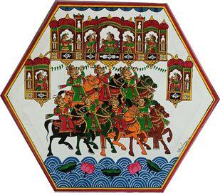 Horse March by Bhavana Saxena, Folk Painting, Acrylic on Canvas, Silver color