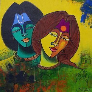 Ramayana-5 by Ramana Peram , Expressionism Painting, Acrylic on Canvas, Gray color