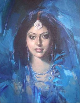 Beauty in Blue by Gautam Sarkar, Illustration Painting, Acrylic on Canvas, Navy color