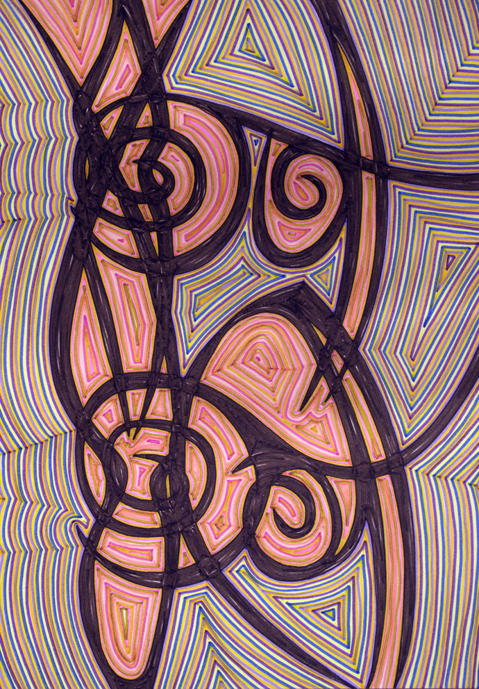 Measuring Volume of Perspective 45 by Dhanur Goyal, Abstract Drawing, Ink on Paper, Purple color