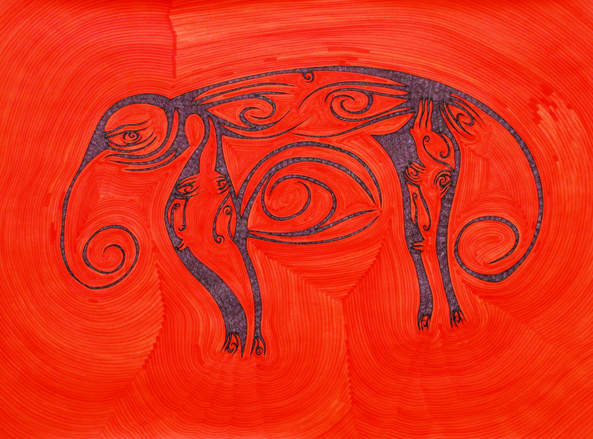 Losing Sight of Perspective 43 by Dhanur Goyal, Abstract Painting, Pen & Ink on Paper, Red color