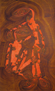 Losing Sight of Perspective 37 by Dhanur Goyal, Abstract Painting, Pen & Ink on Paper, Maroon color