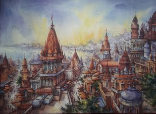 Top view of benaras-5 by Shubhashis Mandal, Illustration Painting, Watercolor on Paper, Gray color